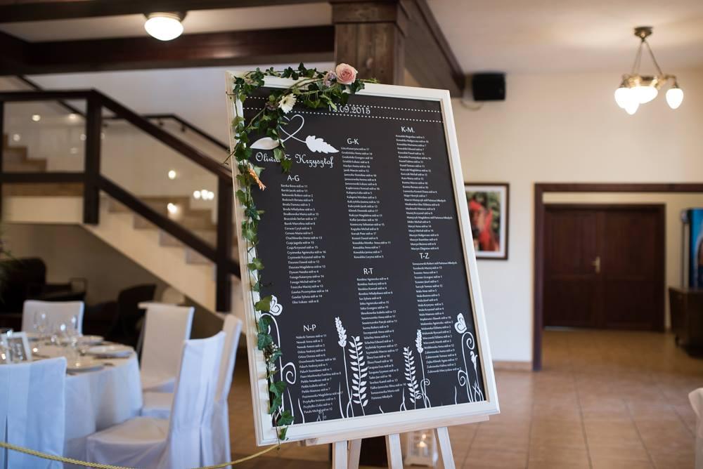 tablica z rozmieszeniem gości kredowa